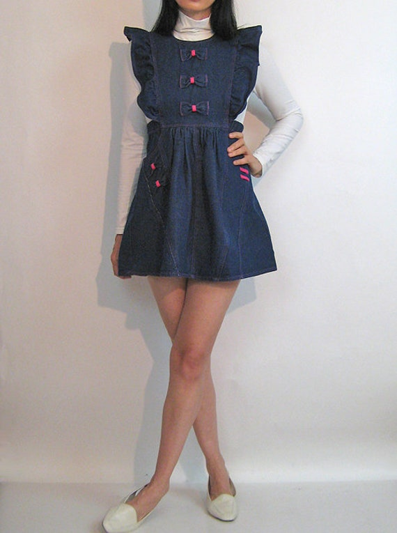 Denim Pinafore Bow Dress / Vintage 1980s Dark Ind… - image 4