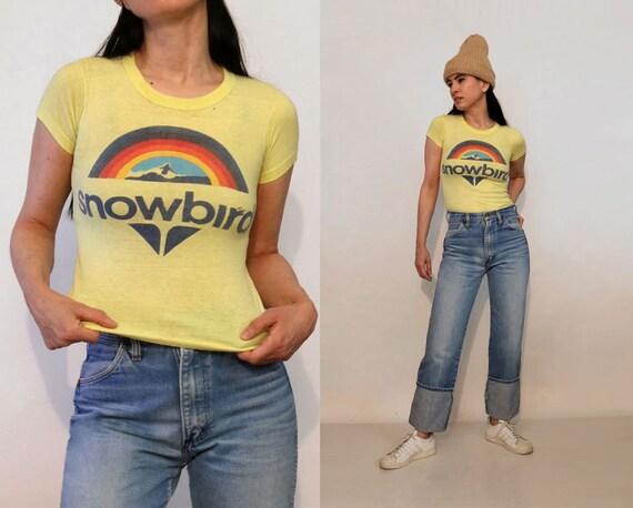 70s Rainbow Snowbird Tiny Fit T-shirt / Vintage 19