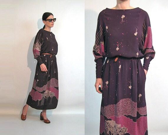 70s Black Cherry Tree Dress / Vintage 1970s Wine R