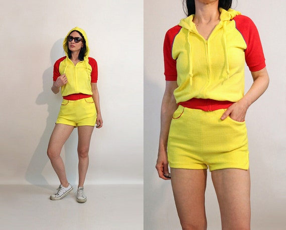 70s Color Block Shorts Set / Vintage 1970s Canary