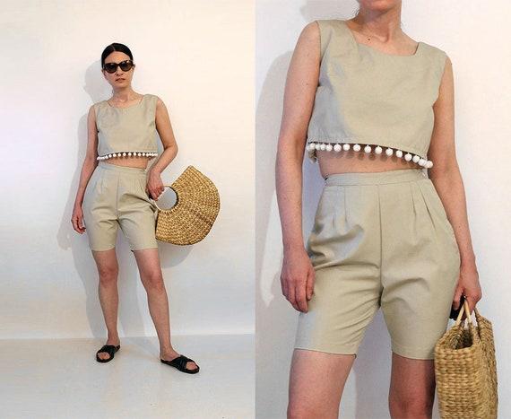 50s Sand Cotton Shorts Set / Vintage 1950s Sand 2p