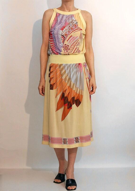 70s Indian Chief Gauze Dress / Vintage 1970s Nati… - image 8