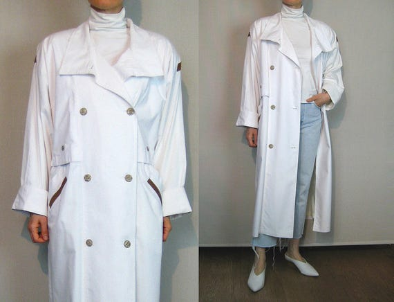 Oversized White Cotton + Leather Trench Coat / 80s