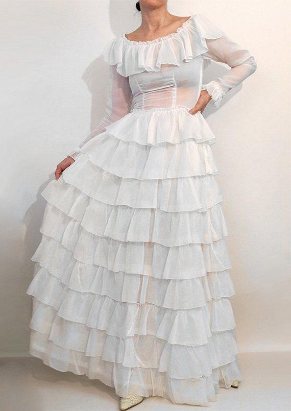 30s Ruffled Cotton Voile Dress / Vintage 1930s Sh… - image 4
