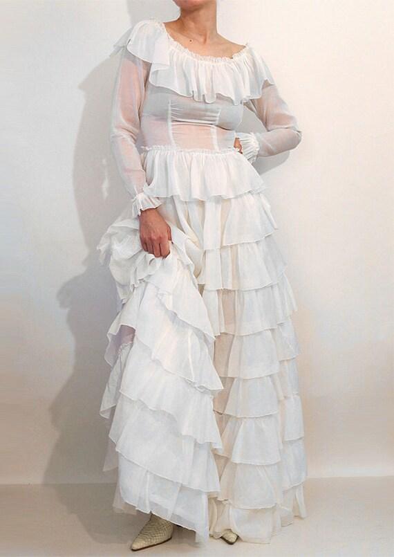30s Ruffled Cotton Voile Dress / Vintage 1930s Sh… - image 5