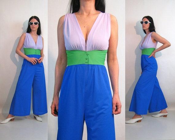 70s Color Block Jumpsuit / Vintage 1970s Colorbloc