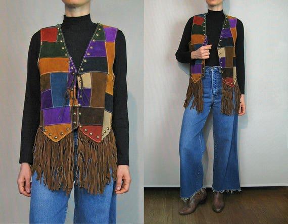 Rare 70s Studded Suede Fringe Patchwork Vest / Rai