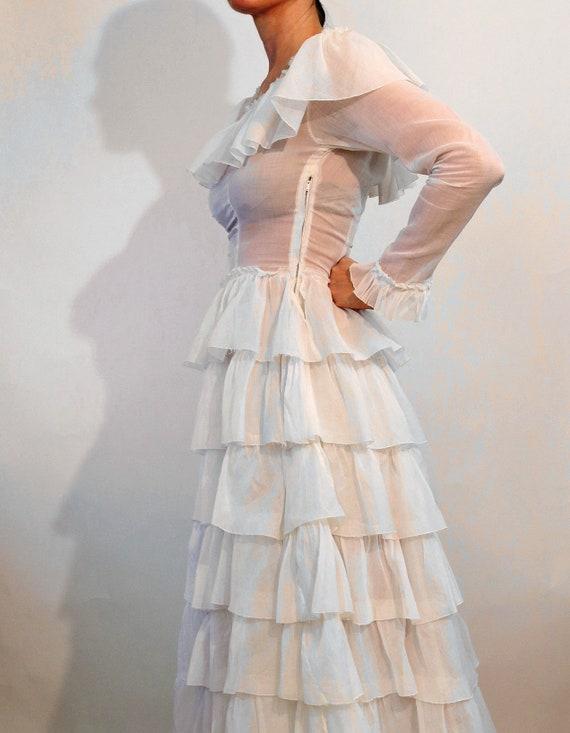 30s Ruffled Cotton Voile Dress / Vintage 1930s Sh… - image 9