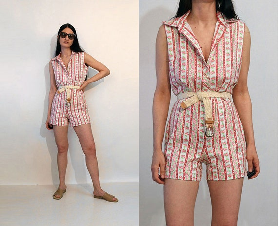 50s Floral Striped Cotton Romper / Vintage 1950s W