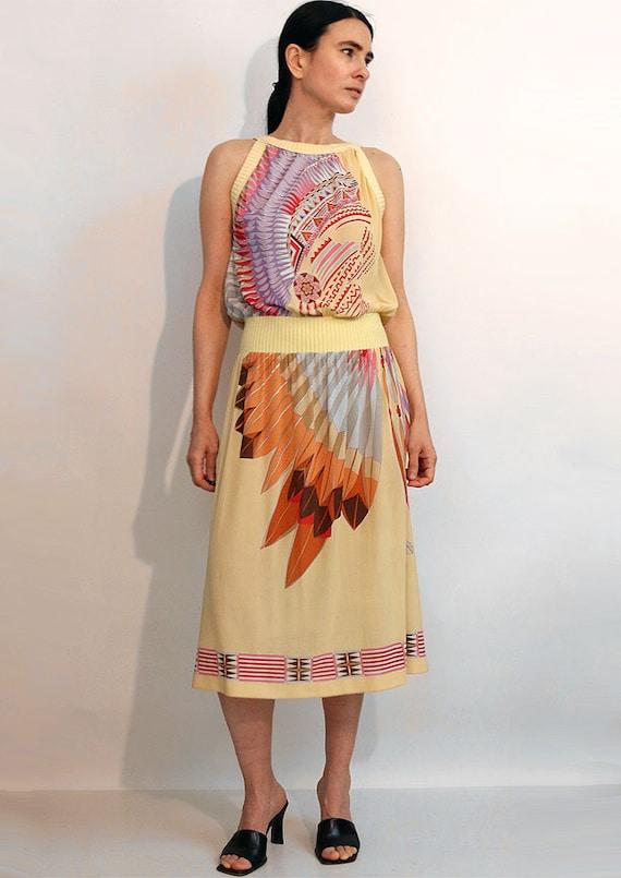70s Indian Chief Gauze Dress / Vintage 1970s Nati… - image 2
