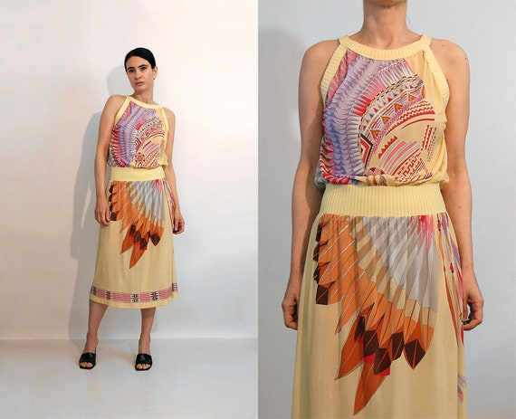 70s Indian Chief Gauze Dress / Vintage 1970s Nativ