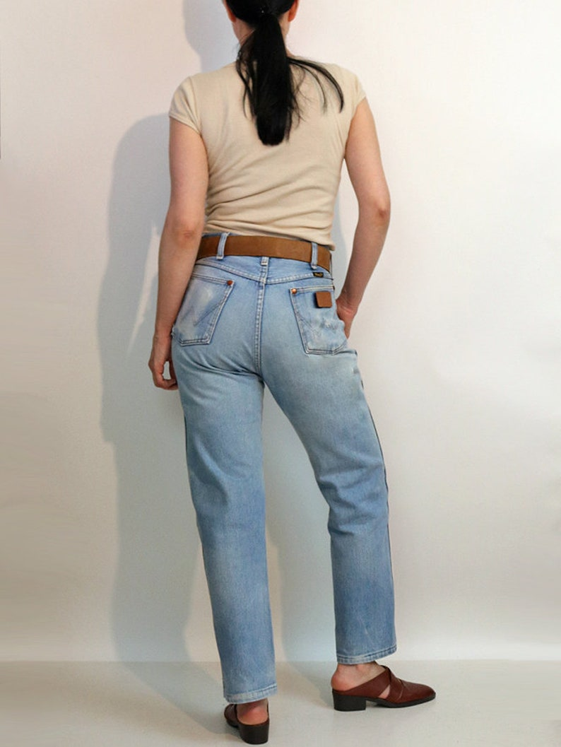 70s Faded Wrangler Jeans 30x28  Vintage 1970s Faded n Worn Wrangler Jeans  30 31 Waist Ripped Distressed Wrangler Straight Leg Jeans