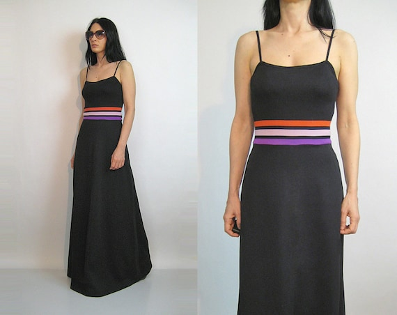70s Rainbow Striped Knit Dress / Vintage 1970s Kni