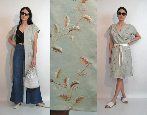 Sage Embroidered Leaf Linen Vest / Vintage 1980s S