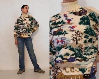 Winter Scene Handknit Wool Sweater / Vintage 1980s Ivory & Multicolored Wool Knit Outdoor Scenic Ski Turtleneck Sweater / 80s Ski Jumper