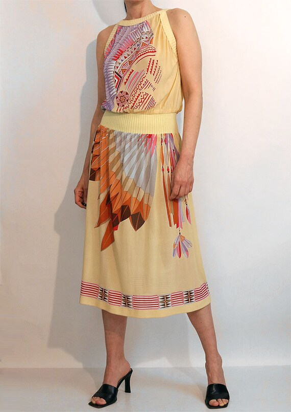 70s Indian Chief Gauze Dress / Vintage 1970s Nati… - image 3