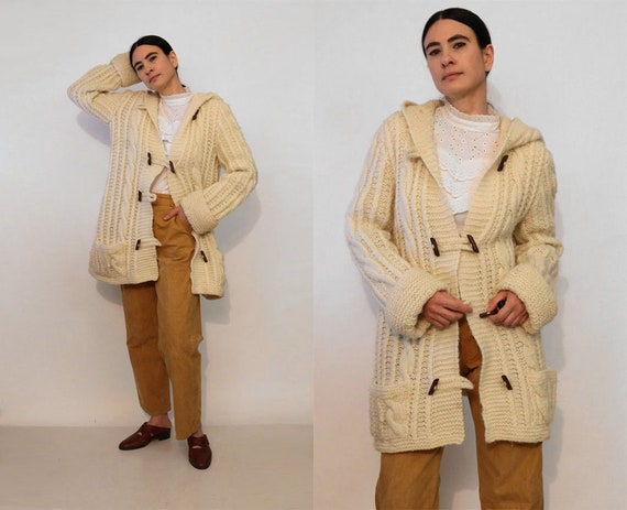 Vintage Sweater Coat By Cuddle Knit 1970s Ivory Cream 44 Large L XL Extra Large Long Knit Midi Knitted Cardigan Jacket Possibly Dead Stock