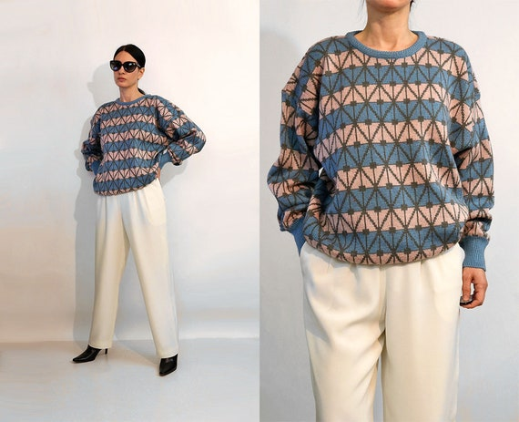 Cacharel Blush & Slate Geo Sweater / Vintage 1980s