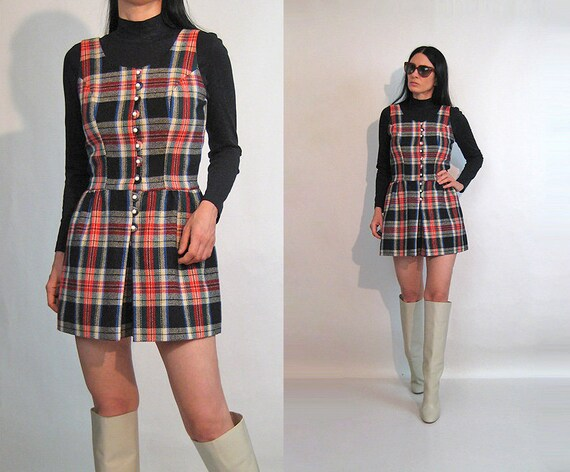 60s Tartan Wool Romper / Vintage 1960s Plaid Wool