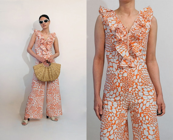 Ruffled Orange Blossom Zip Jumpsuit / Vintage Tang