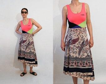 70s Phoenix Bird Cotton Gauze Wrap Skirt / Vintage 1970s Ethnic Maroon Indigo Ecru Phoenix Batik Novelty Cotton Gauze Wrap Skirt