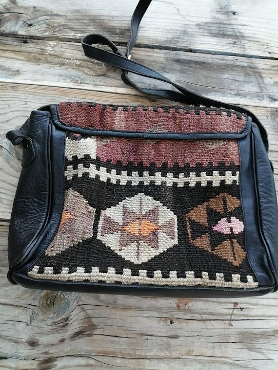 leather handles with adjustable length hooks copper color. Leather shoulder bag and KILIM vintage 4.5 x 7 inc-12x17 CM ideal for mobile phone