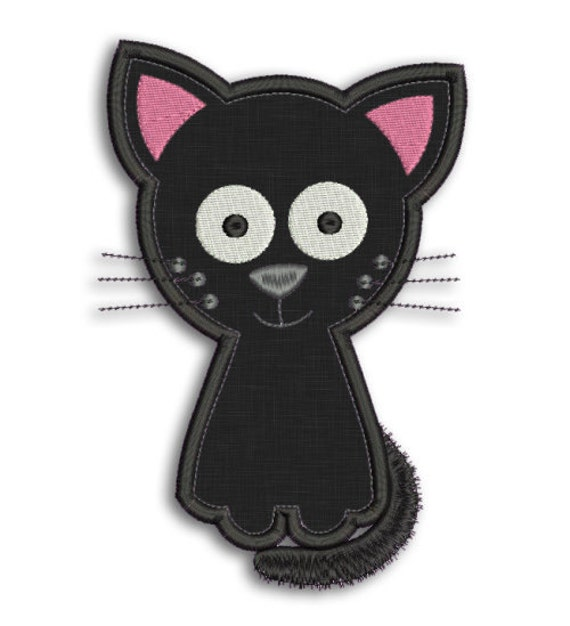 Cute Cat Applique 4x4 5x7 6x10 Machine Embroidery Design Etsy