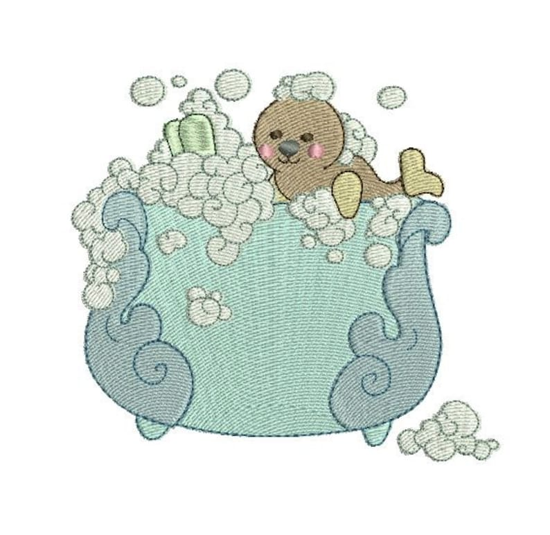Baby Seal Bath Time Cutie Machine Embroidery Design ...