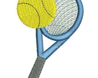 Tennis Racket Machine Embroidery Design - 4x4