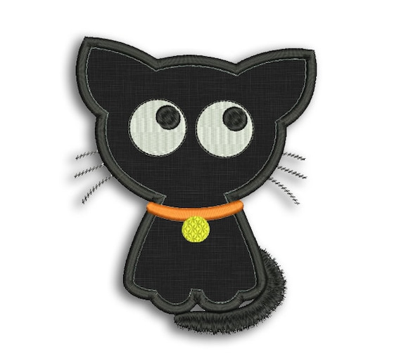 Cute Halloween Cat Applique Machine Embroidery Design Etsy