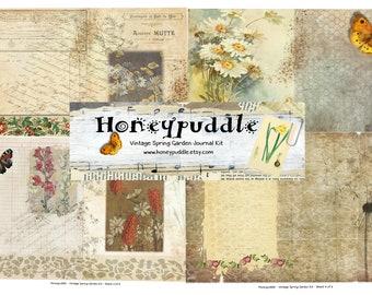 printable cardmaking Ladybugs Journal cards Flowers Butterflies Ladybirds Printable ephemera digital download Nature inspired