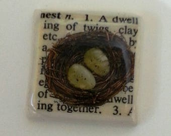 Nest Brooch, Birdy, Birds Nest, Ceramic Pin Brooch, Rustic, Square, Quirky, Nature