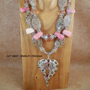 Western Statement Necklace Set Chunky White Howlite and Pale Sapphire Glass Cowgirls Night Out Fancy Crystal Pendant