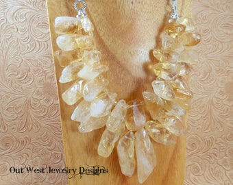 Statement Necklace Set - Chunky Golden Citrine Nuggets with Deep Purple Amethyst - Comes with Matching Earrings