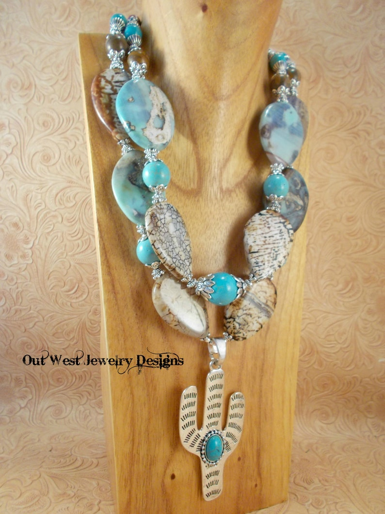 Western Cowgirl Statement Necklace Set Brown and White Agate Saguaro Cactus Pendant Chunky Turquoise Howlite