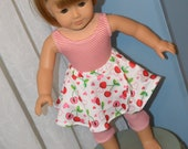 18 Inch Doll Clothes Two Piece Exercise Outfit Red and White Pin Stripe One Piece Leotard and Cherry Print Circular Skirt by SEWSWEETDAISY