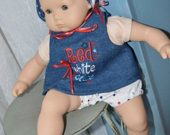 15 Inch Baby Doll Clothes Three Piece Outfit Including Polka Dot Panties, Denim Machine Embroidered Top and Bonnet by SEWSWEETDAISY