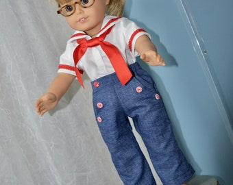18 Inch Doll Clothes Two Piece Sailor Outfit Including Navy Sailor Pants and Sailor Top by SEWSWEETDAISY