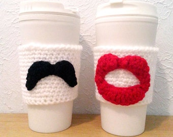 His and Hers Crochet Cup Cozy Set, Red Lips and Mustache Cozies, Bride and Groom Wedding Gift, Anniversary Gift
