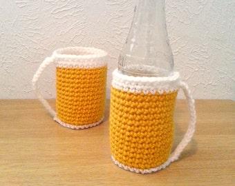 Beer Glass Cozy, Crochet Can Cozy, Party Accessory, Crochet Bottle Holder, Set of 2 Beer Mug Cozies