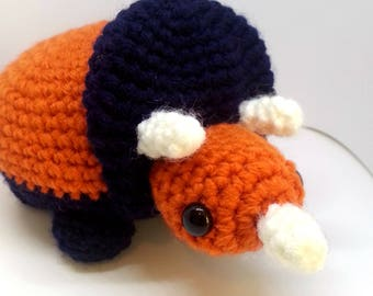 Triceratops Crochet Plush, Dinosaur Stuffed Animal, Desk Dino, Nursery Decor, Made to Order, Choose Your Colors