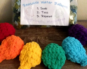 Reusable Water Balloons, Set of 6, Eco-Friendly Crochet Balloons, Latex Free Water Balloons