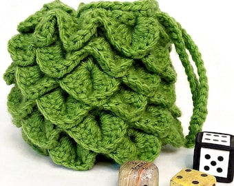 Crochet Dice Bag, Dragon Scale, Coin Purse, Jewelry Bag, Make-up Bag, Gamer's Pouch