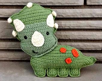 Triceratops Stuffed Animal, Crochet Dinosaur Plushie, Green Triceratops Dinosaur