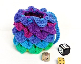 Dragon Scale Dice Bag, Crochet Coin Purse, Jewelry Bag, Make-up Bag, Gamer's Pouch