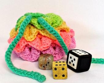 Dragon Scale Die Bag, Retro Stripe Bag, Coin Purse, Gamer Pouch