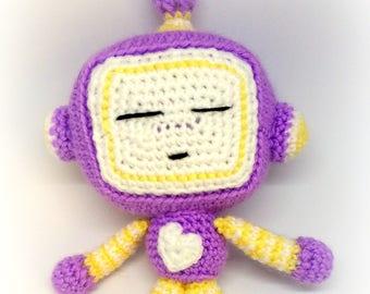 Sleeping Robot, Crochet Robot Stuffed Plushie, Soft Toy Robot, Amigurumi Toy, Nursery Decor
