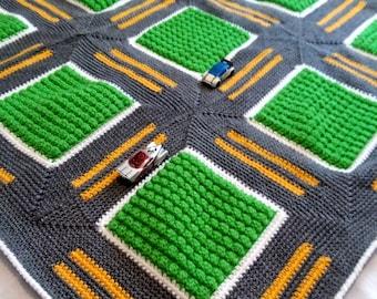 Crochet Road Blanket, Roadway Throw Playmat for Kids Playroom