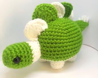 Stegosaurus Crochet Plush, Dinosaur Stuffed Animal, Desk Dino, Nursery Decor, Made to Order, Choose Your Colors