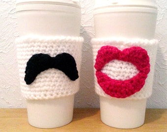 His and Hers Crochet Cup Cozy Set, Hot Pink Lips and Mustache Cozies, Bride and Groom Wedding Gift